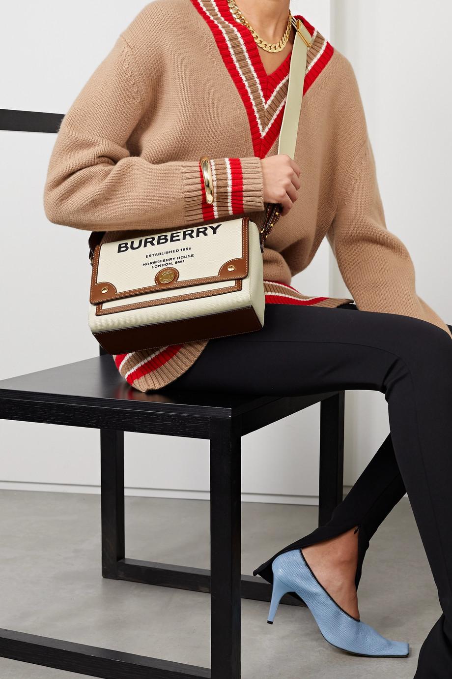 Burberry Leather-trimmed printed canvas shoulder bag