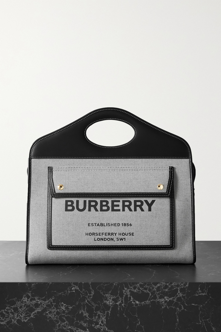 Burberry Medium leather-trimmed printed canvas tote