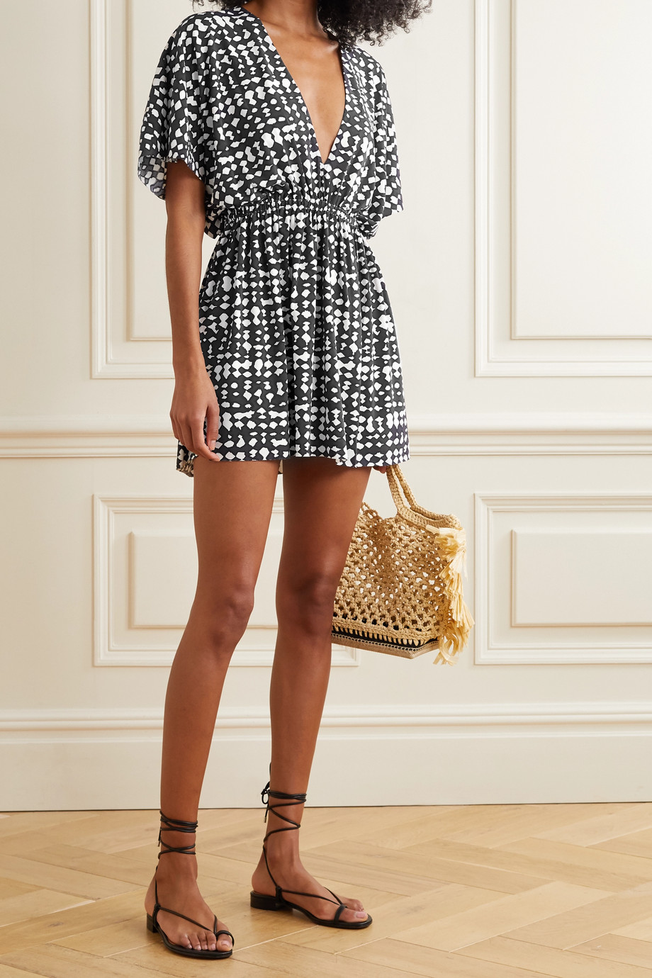Eres Printed stretch-jersey mini dress