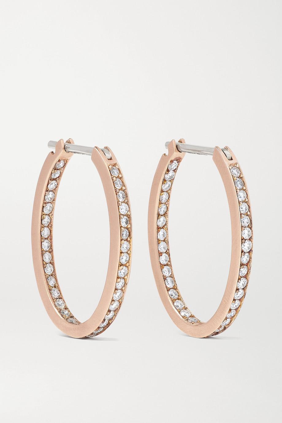 Sylva & Cie Creolen aus 14 Karat Roségold mit Diamanten