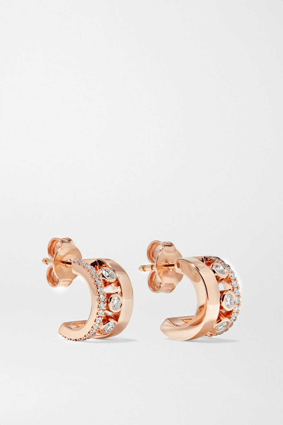 Messika Move Romane 18-karat rose gold diamond hoop earrings