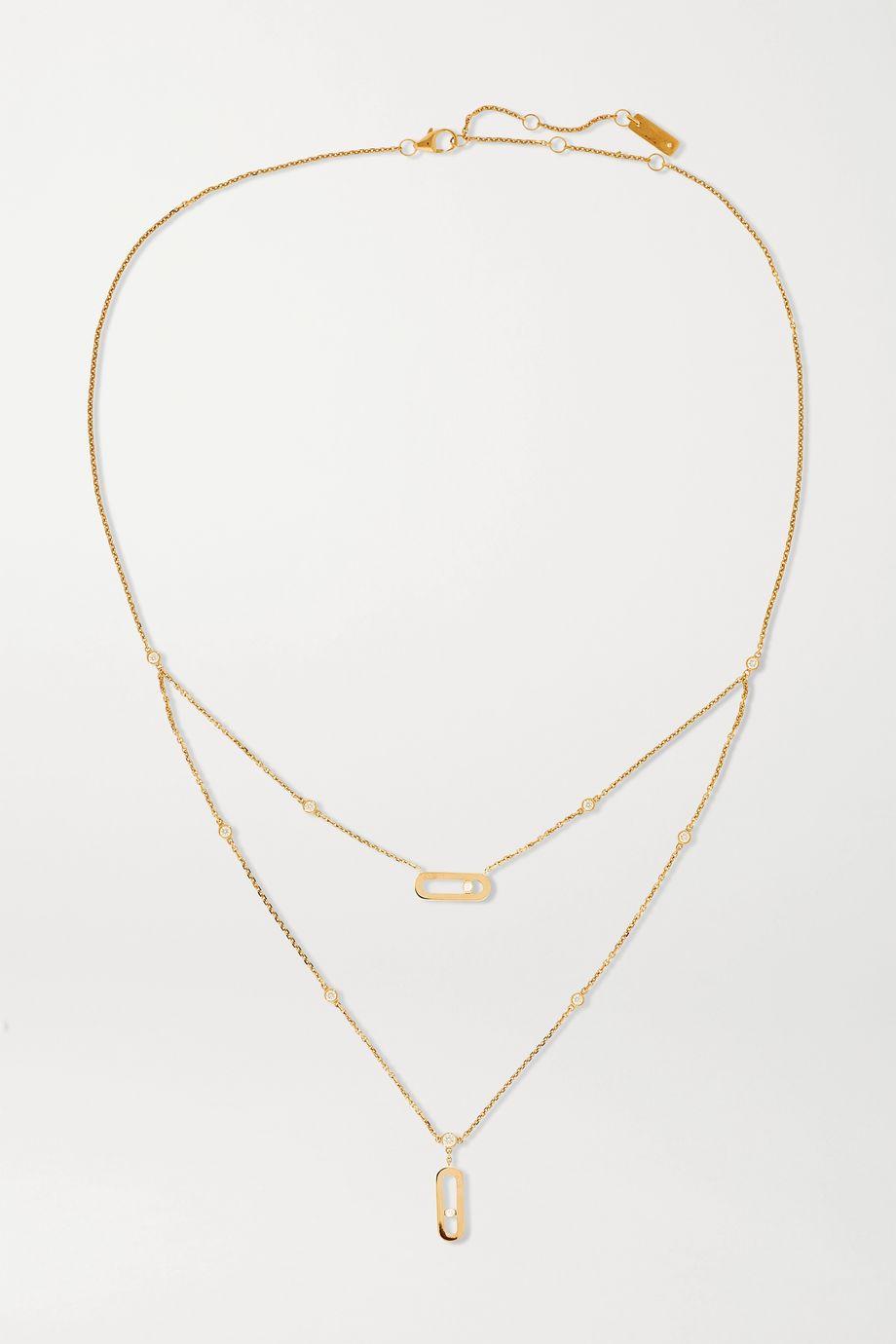 Messika Collier en or rose 18 carats et diamants Move Uno