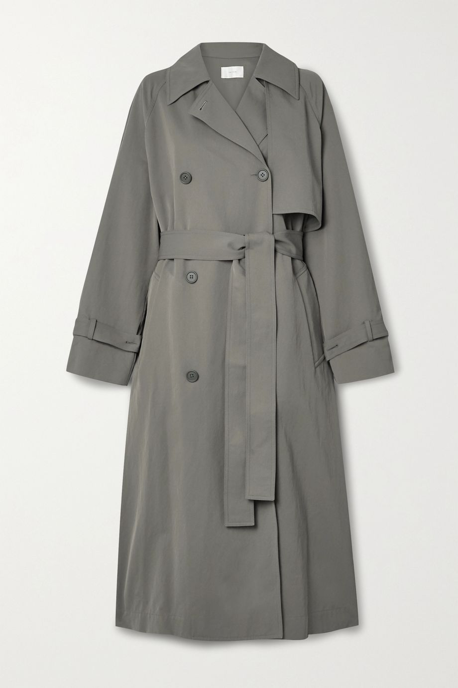 The Row Kareem belted double-breasted shell trench coat