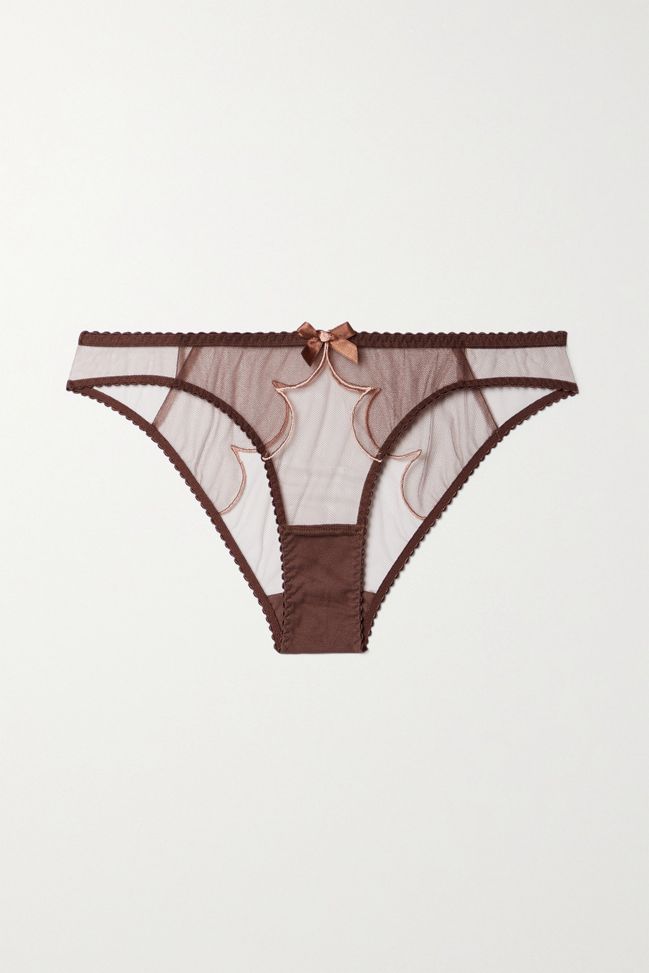 Agent Provocateur Lorna bow-embellished embroidered tulle briefs