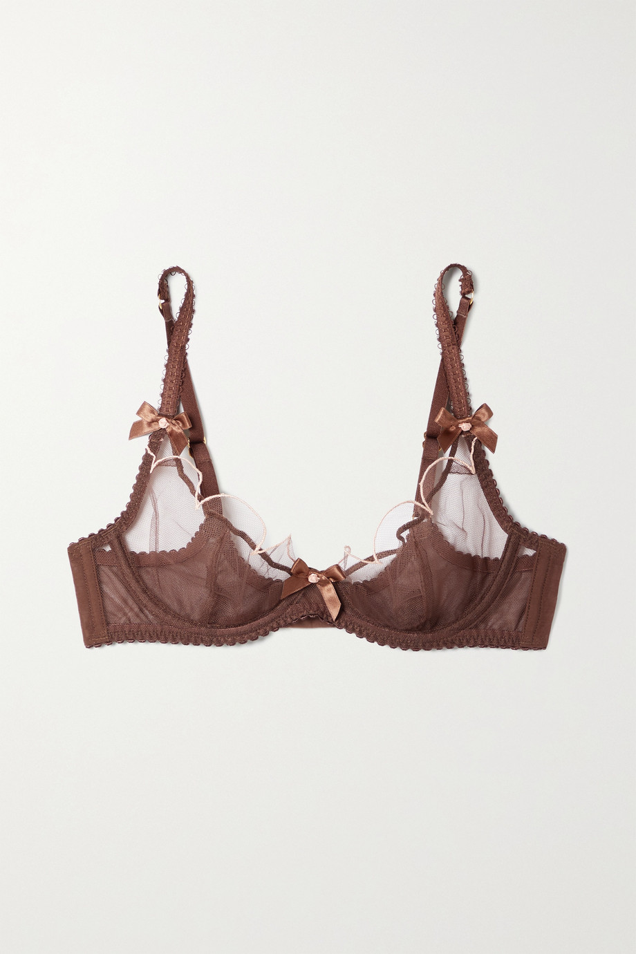 Agent Provocateur Lorna bow-embellished embroidered tulle underwired soft-cup bra