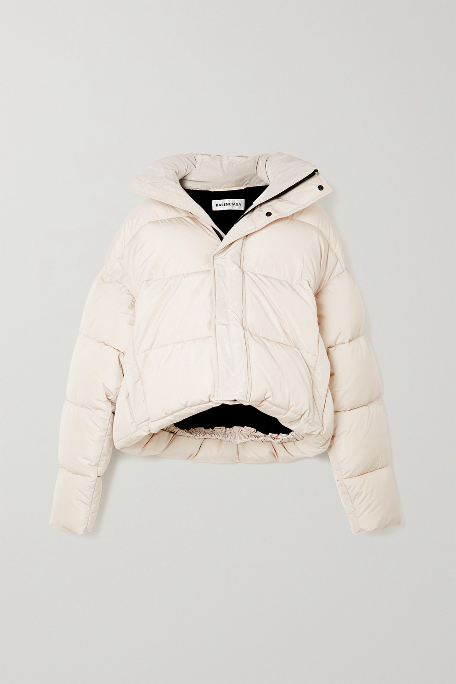 Balenciaga BB oversized cropped hooded quilted shell jacket