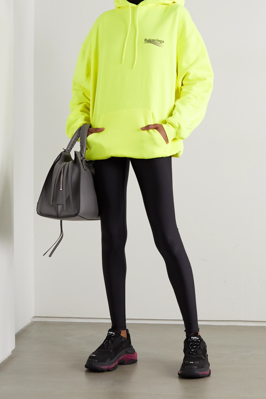 Balenciaga Oversized neon printed cotton-jersey hoodie