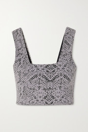 Varley Delta snake-print stretch sports bra