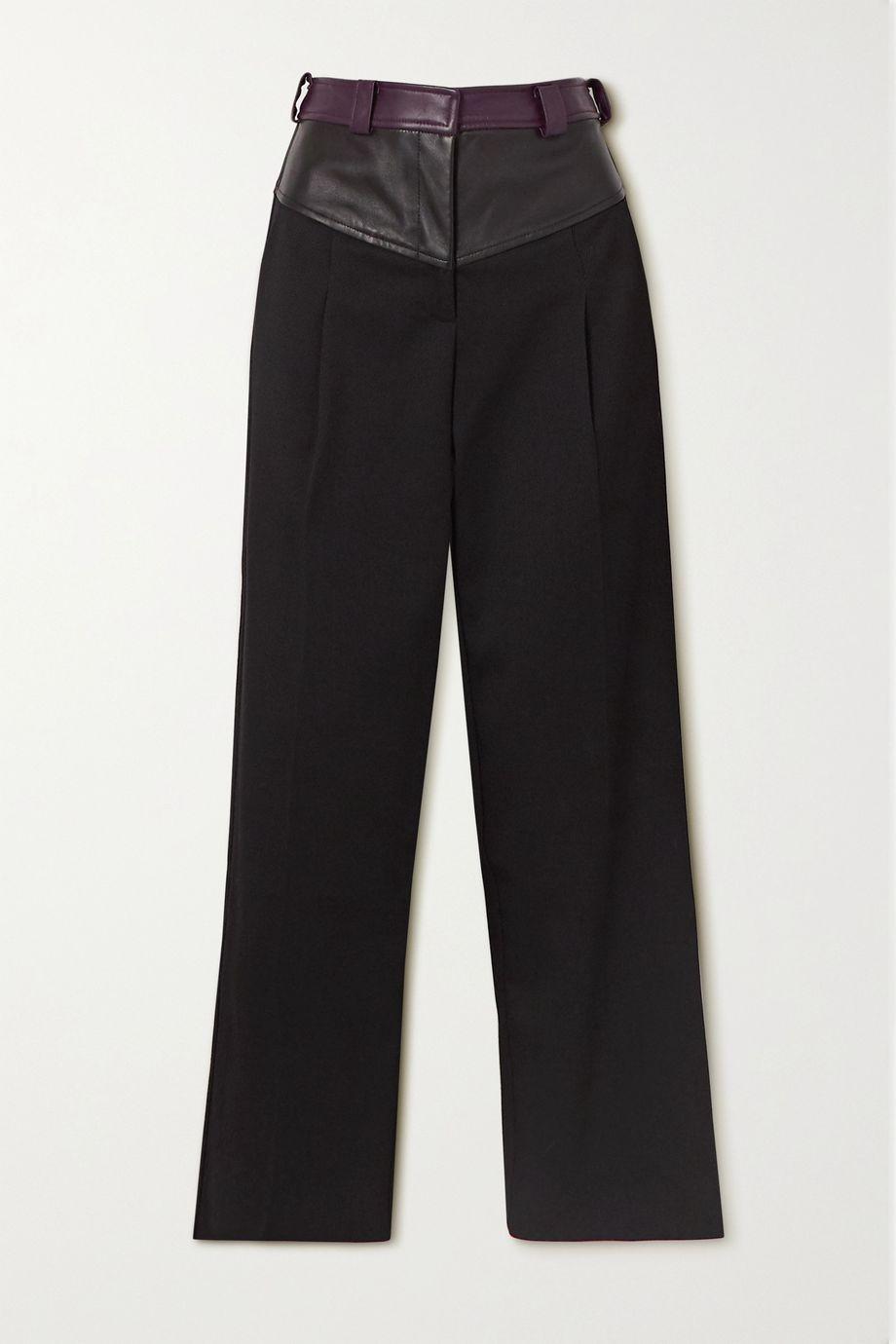 Christopher Esber Maverick twill and leather straight-leg pants