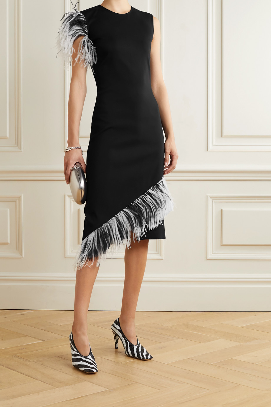 Christopher Kane Asymmetric feather-trimmed twill dress