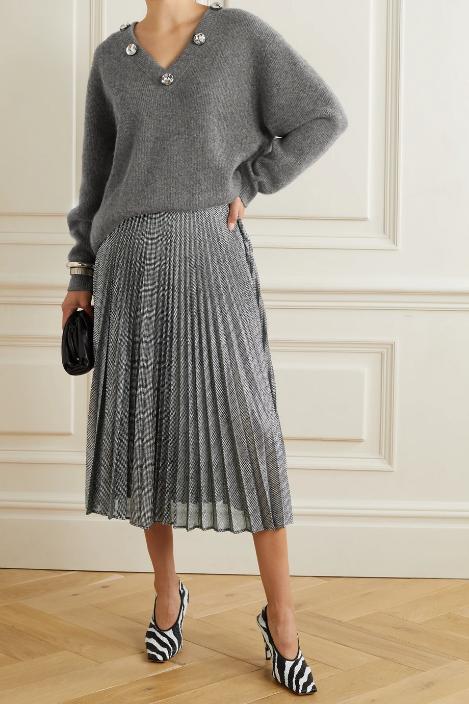 Christopher Kane Pleated metallic lamé midi skirt