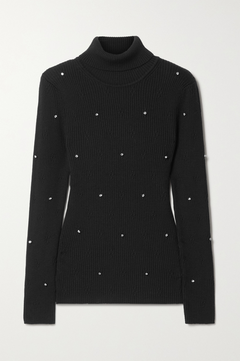 Christopher Kane Crystal-embellished ribbed merino wool turtleneck sweater
