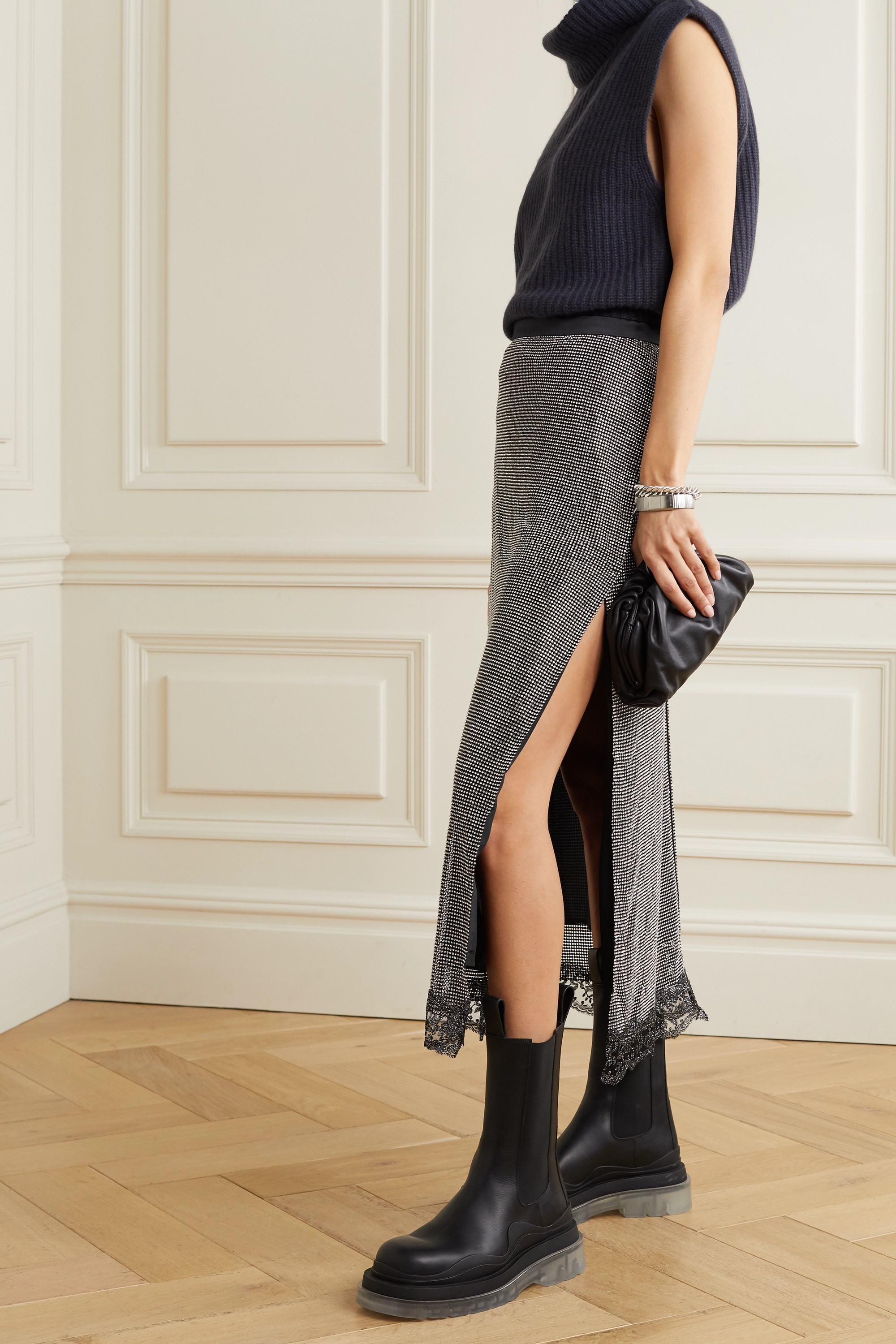 Christopher Kane Lace-trimmed crystal-embellished chainmail midi skirt
