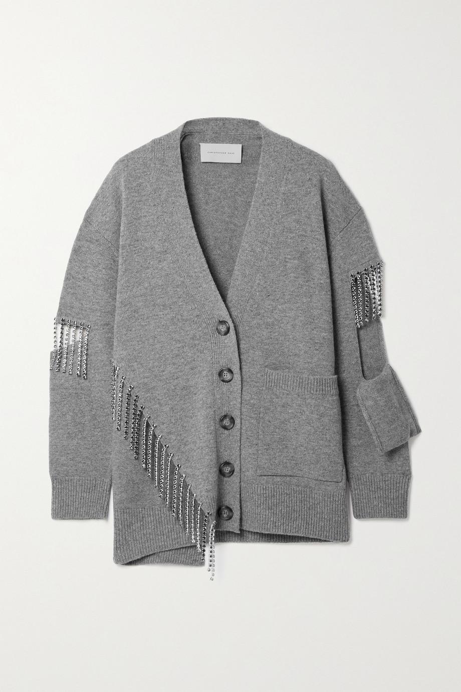 Christopher Kane Crystal-embellished cutout wool cardigan