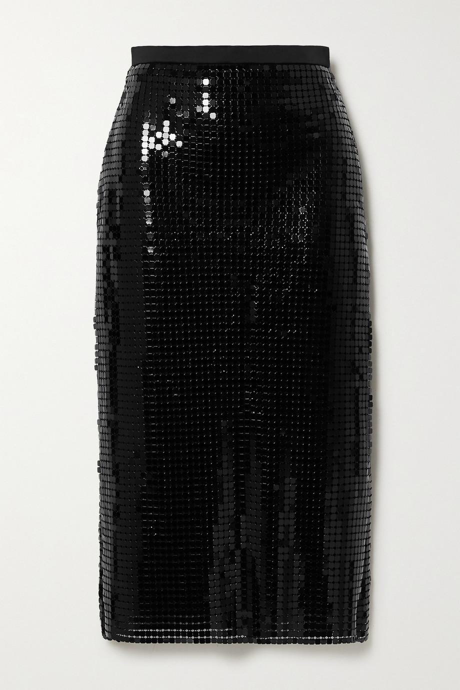 Christopher Kane Satin-trimmed chainmail midi skirt