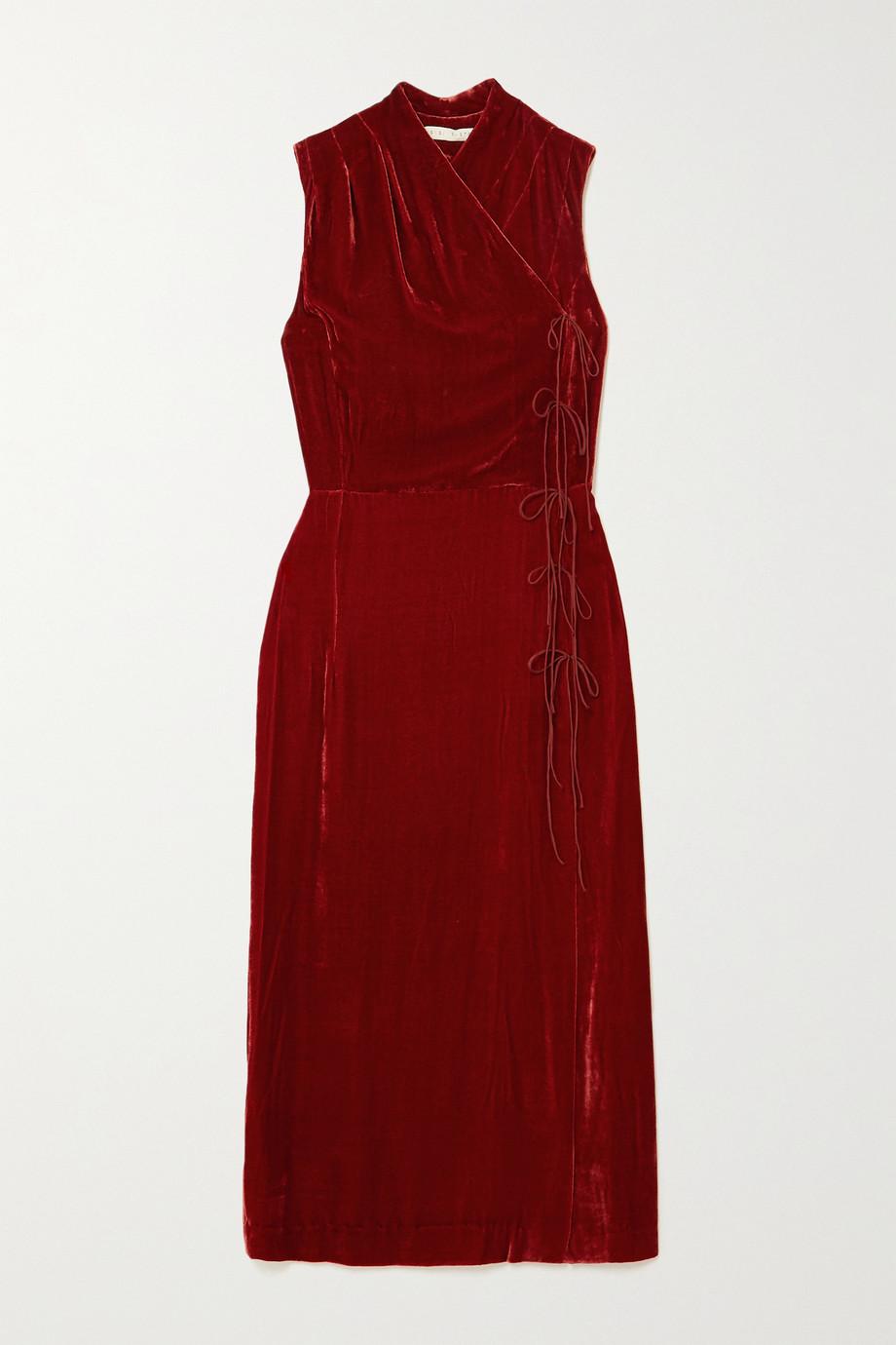 USISI SISTER Jana wrap-effect tie-detailed velvet midi dress