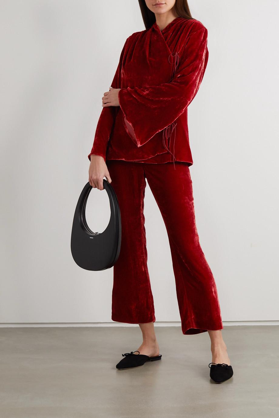 USISI SISTER Gemma belted cropped velvet straight-leg pants
