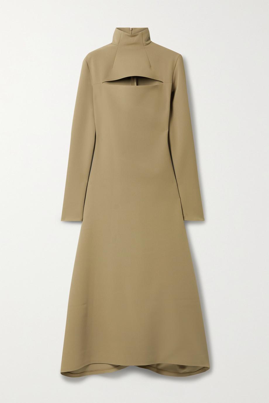 A.W.A.K.E. MODE Asymmetric cutout cady turtleneck dress