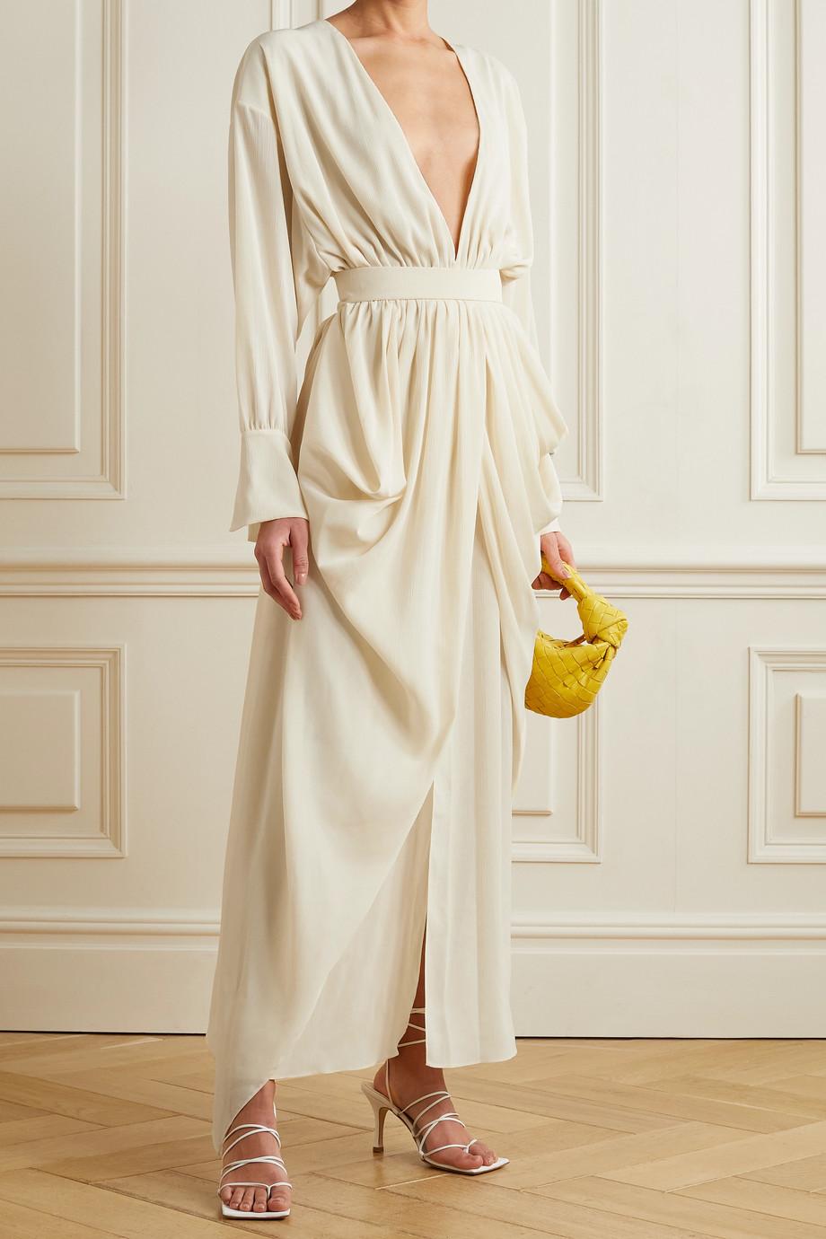 A.W.A.K.E. MODE Gathered draped crepon maxi dress