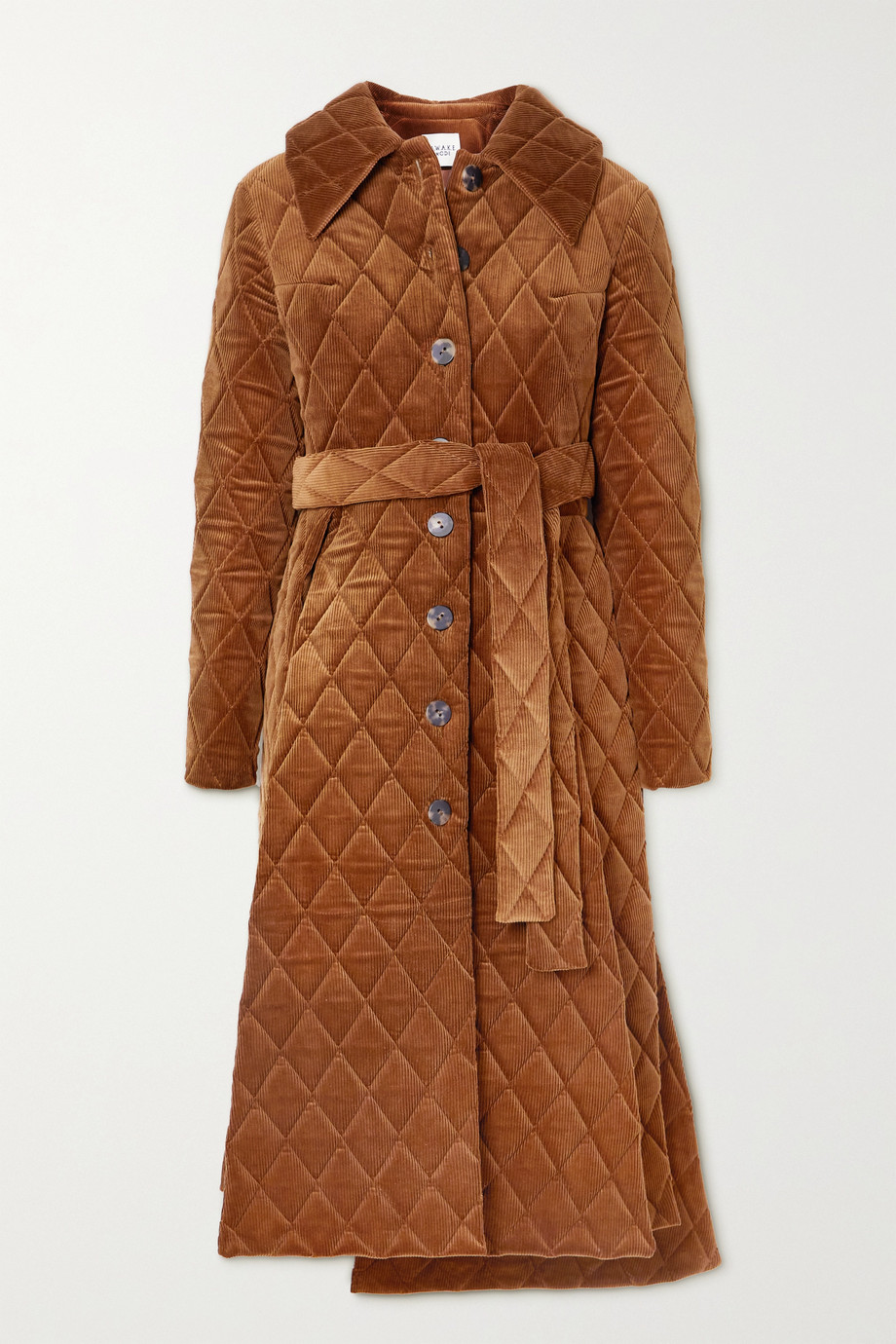 A.W.A.K.E. MODE Asymmetric belted quilted cotton-corduroy coat