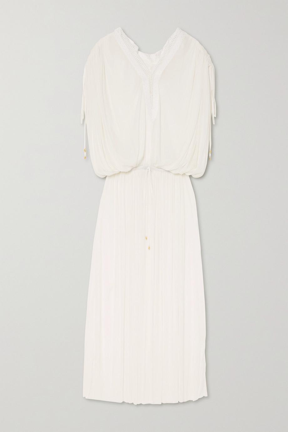 Elena Makri Mirita Kleid aus Seidentüll mit Falten und Häkelbesatz
