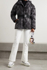 Varley Dowlen hooded tie-dyed quilted down ski jacket