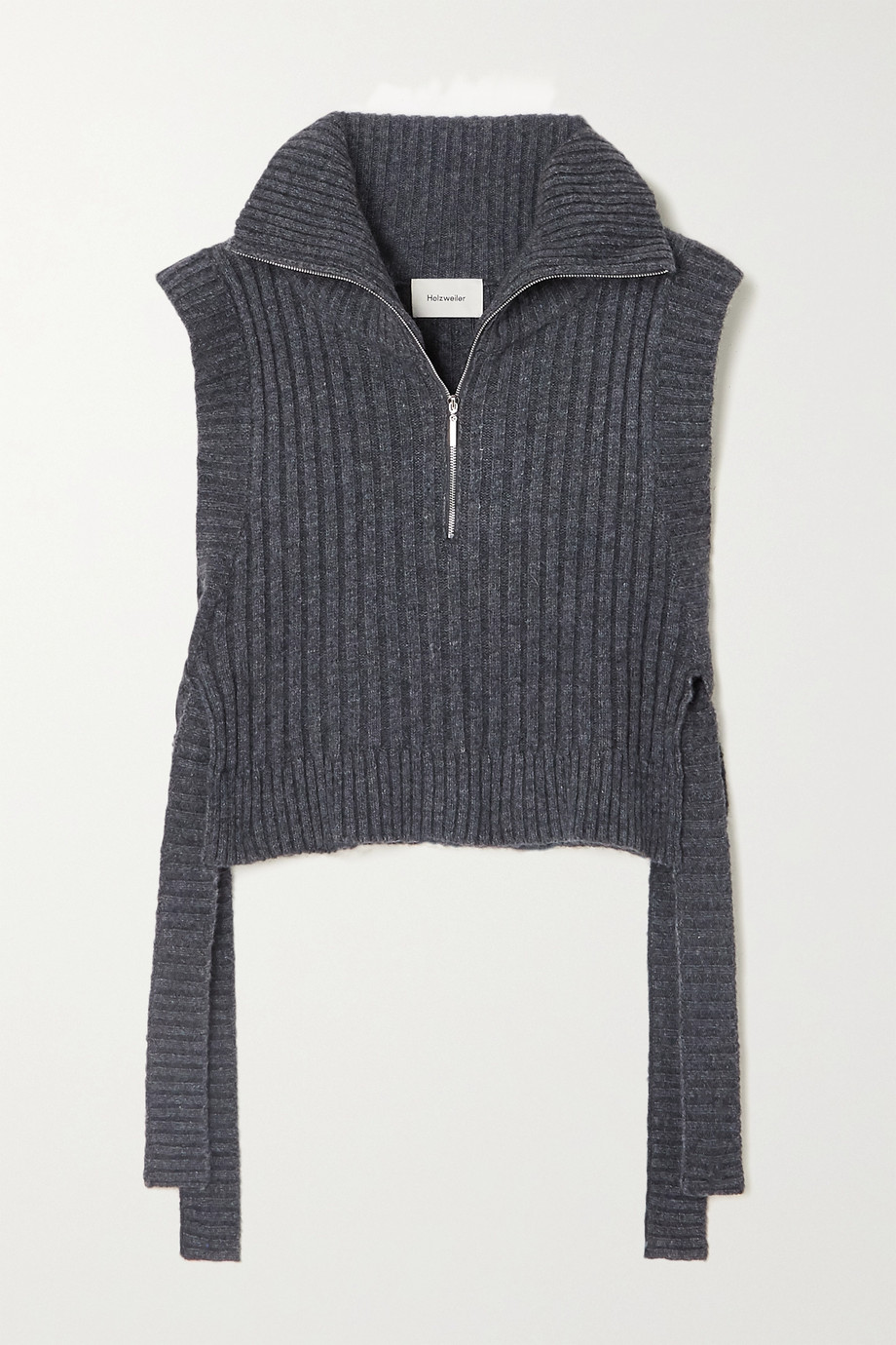 Holzweiler Hafjell tie-detailed ribbed wool-blend turtleneck sweater