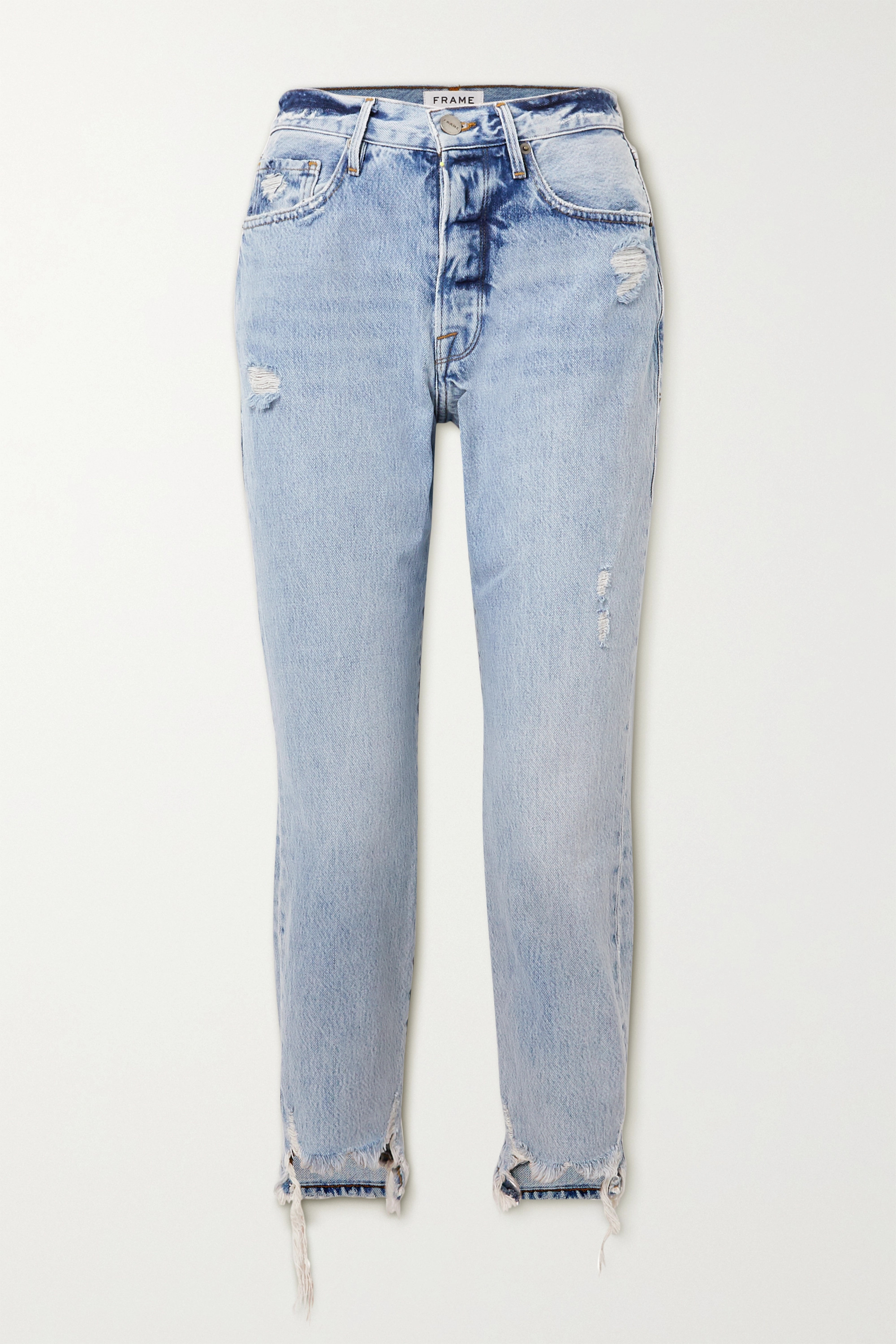 FRAME Le Original distressed high-rise straight-leg jeans