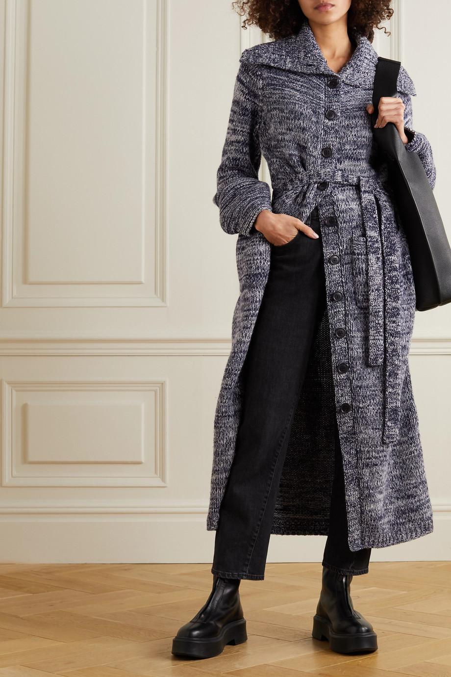 FRAME Belted mélange wool-blend cardigan