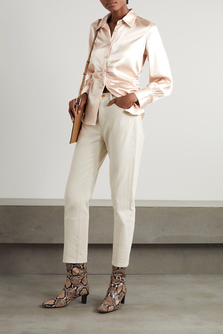 FRAME Ruched silk-blend satin shirt