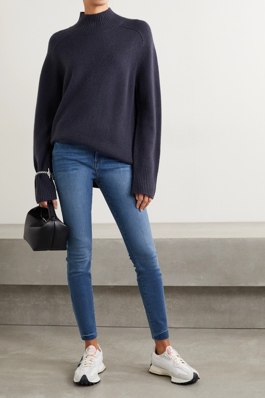FRAME Le High frayed skinny jeans