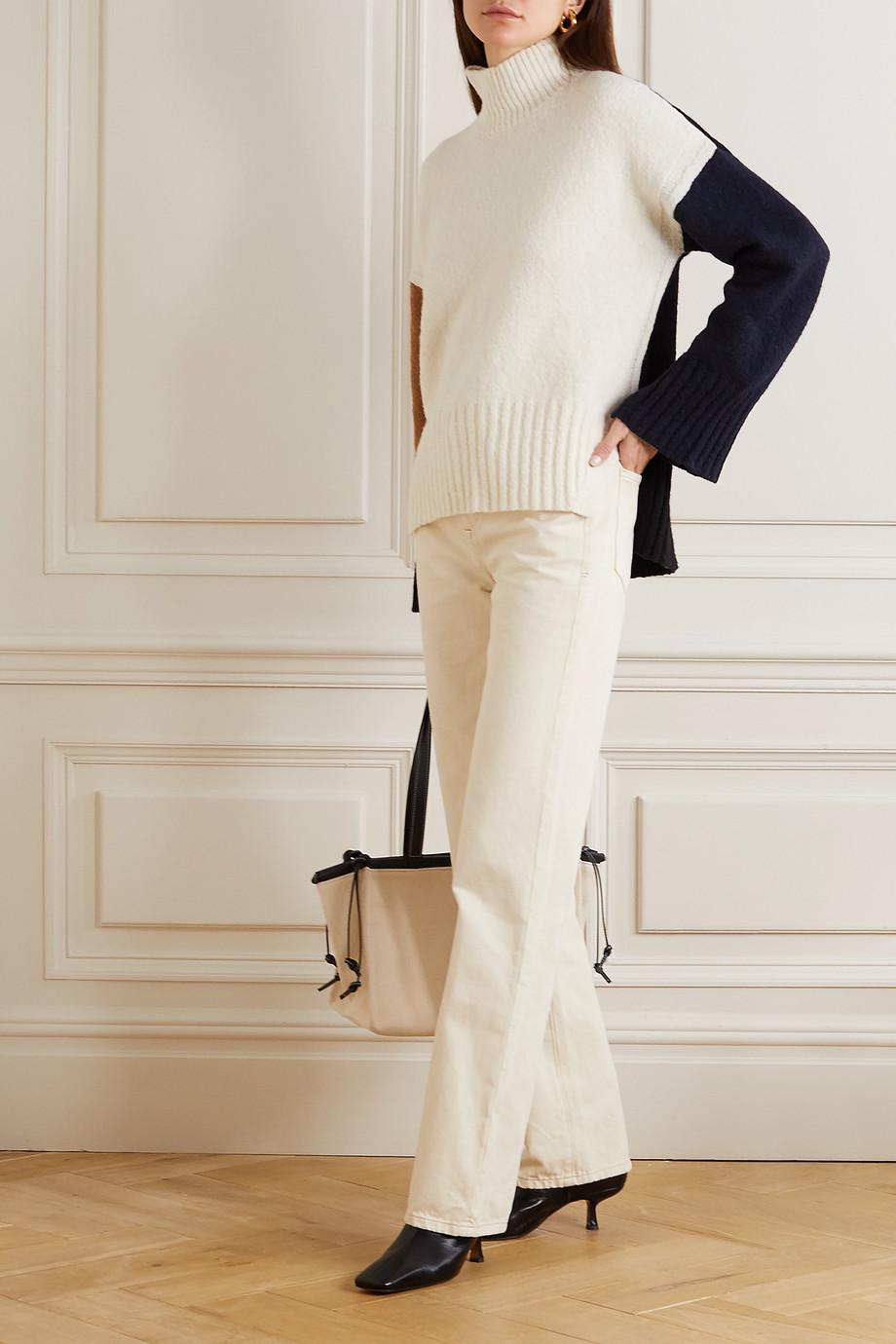 FRAME Pullover aus einer Wollmischung mit Stehkragen in Colour-Block-Optik