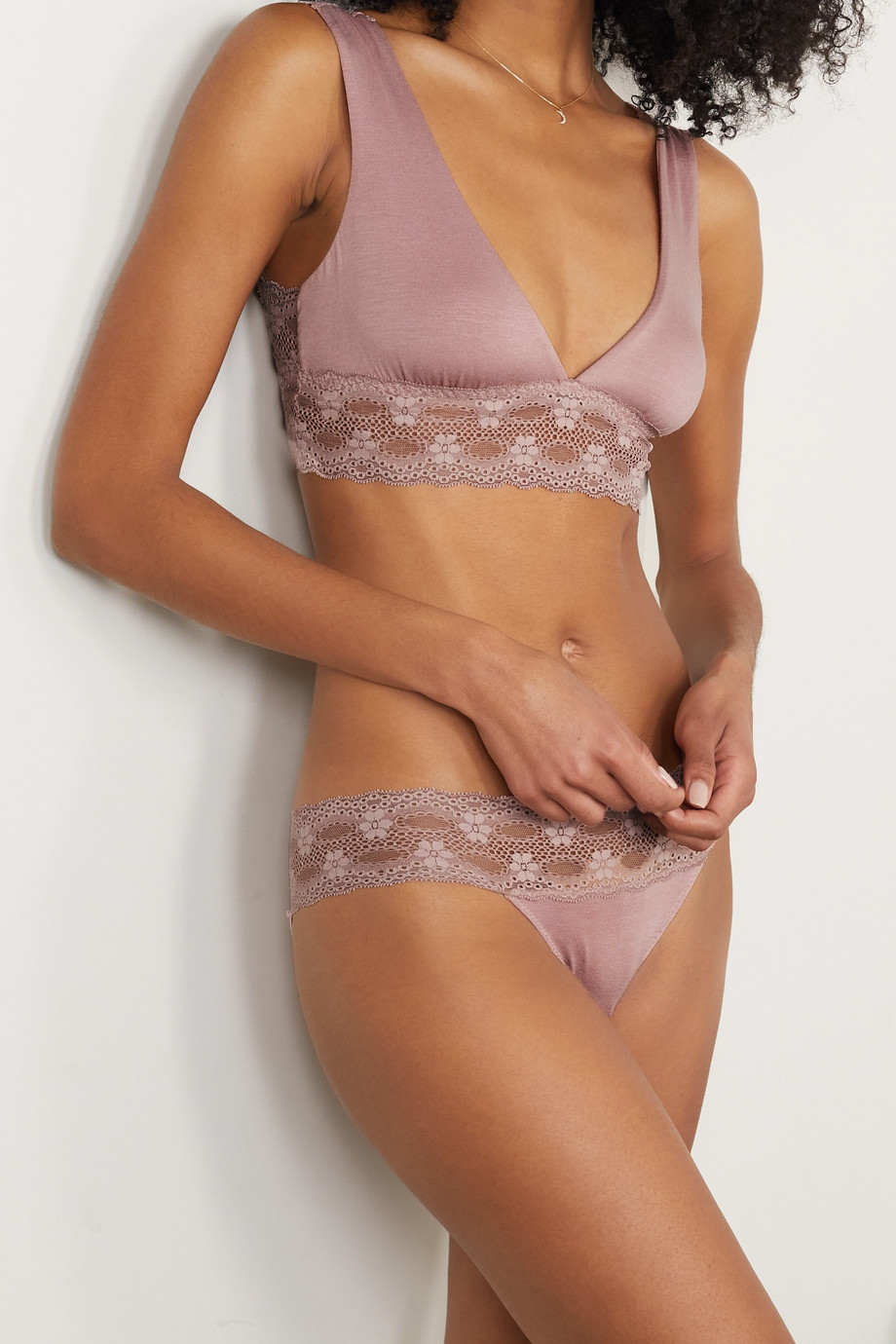 Eberjey India stretch lace-trimmed stretch-modal jersey bralette