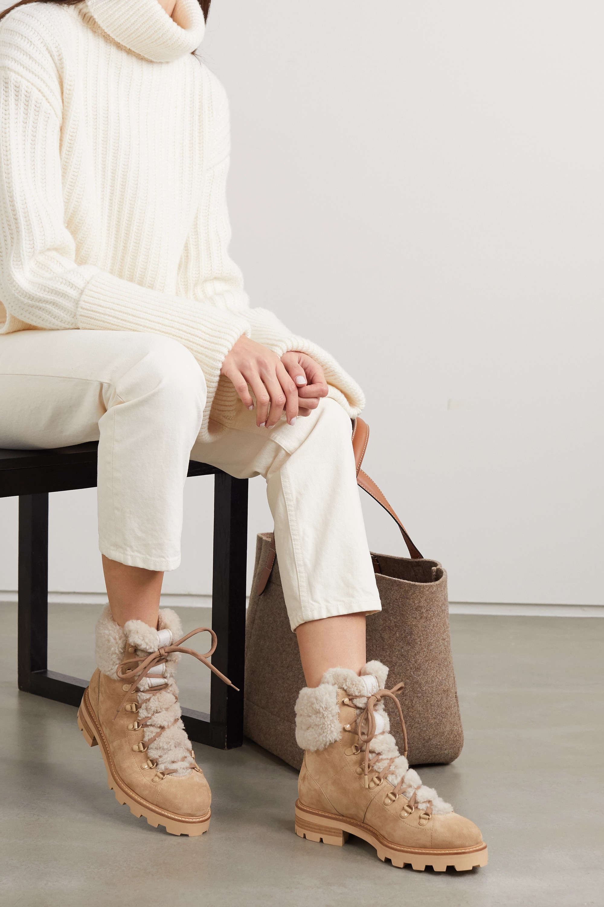 Jimmy Choo Eshe shearling-lined suede ankle boots