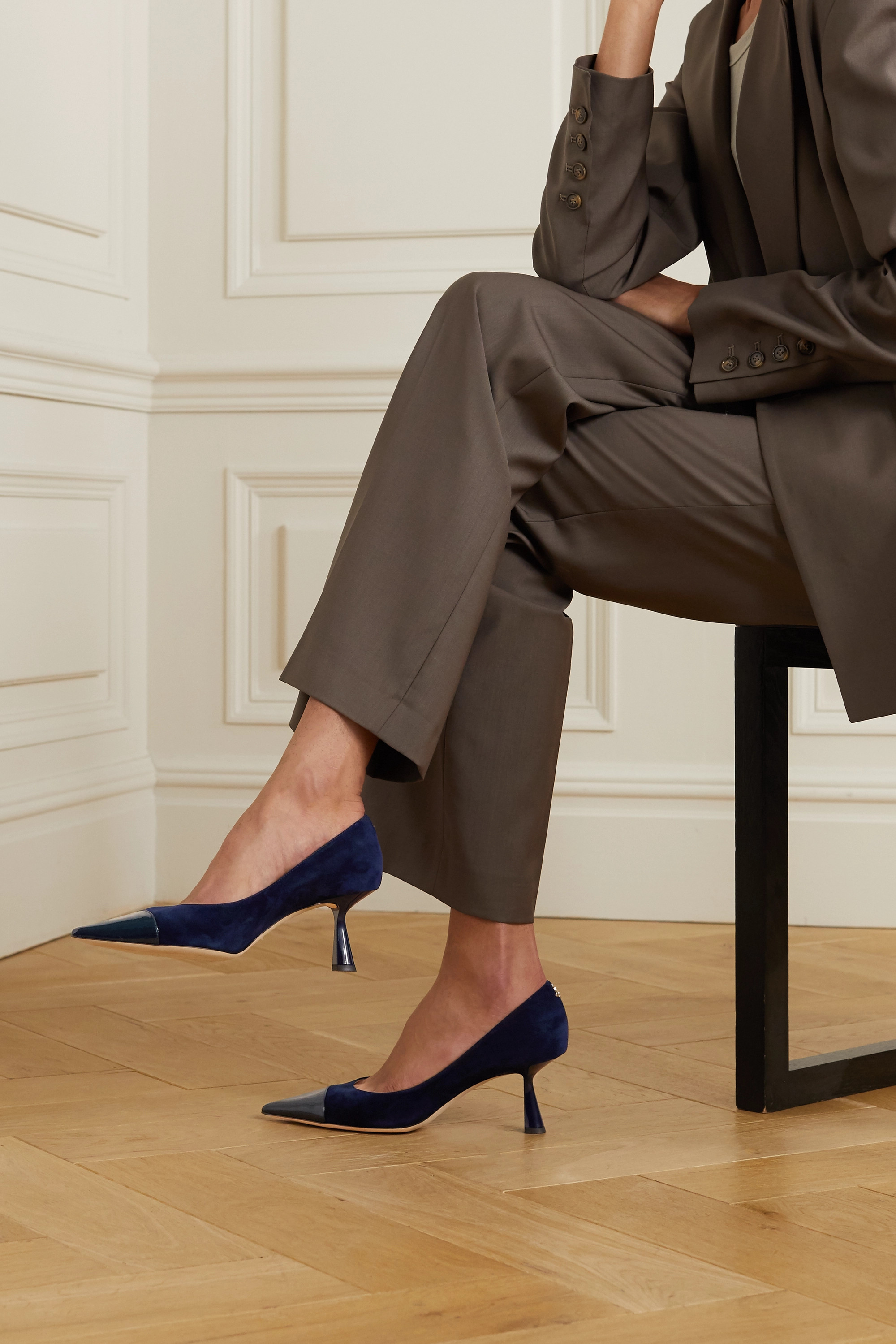 Jimmy Choo Rene 65 suede and patent-leather pumps