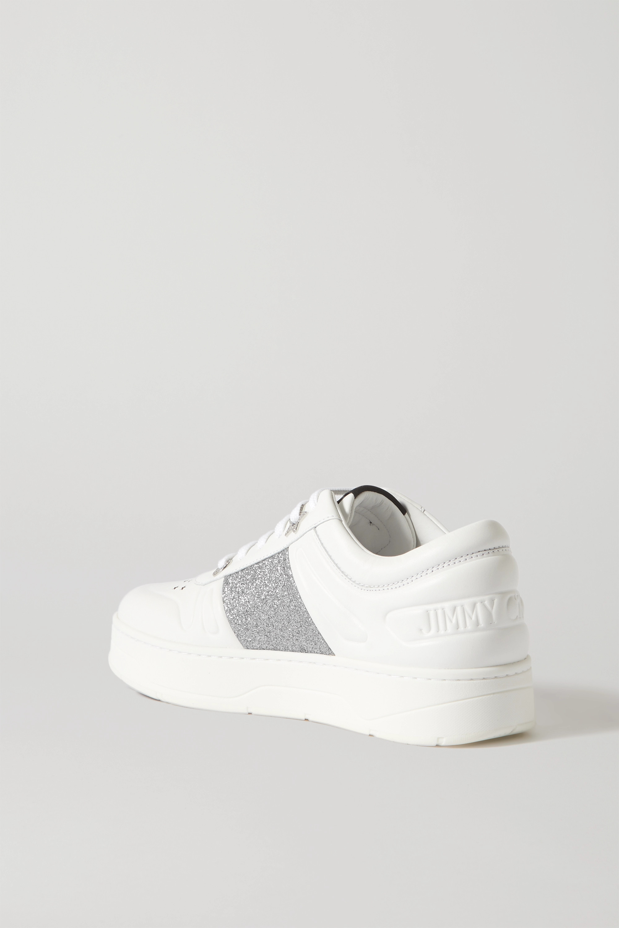 Jimmy Choo Hawaii embellished perforated leather sneakers