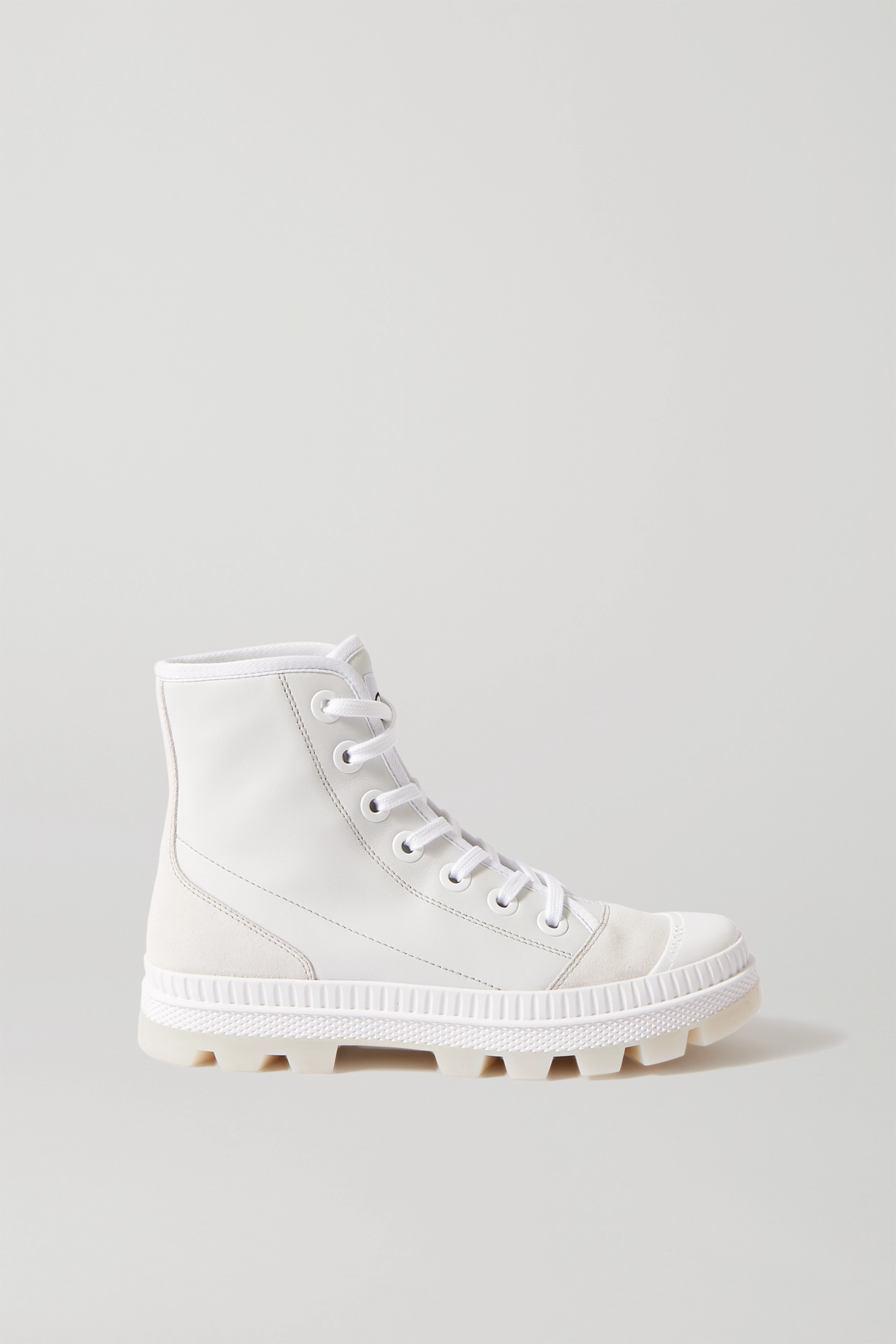Jimmy Choo Nord suede and rubber-trimmed leather high-top sneakers