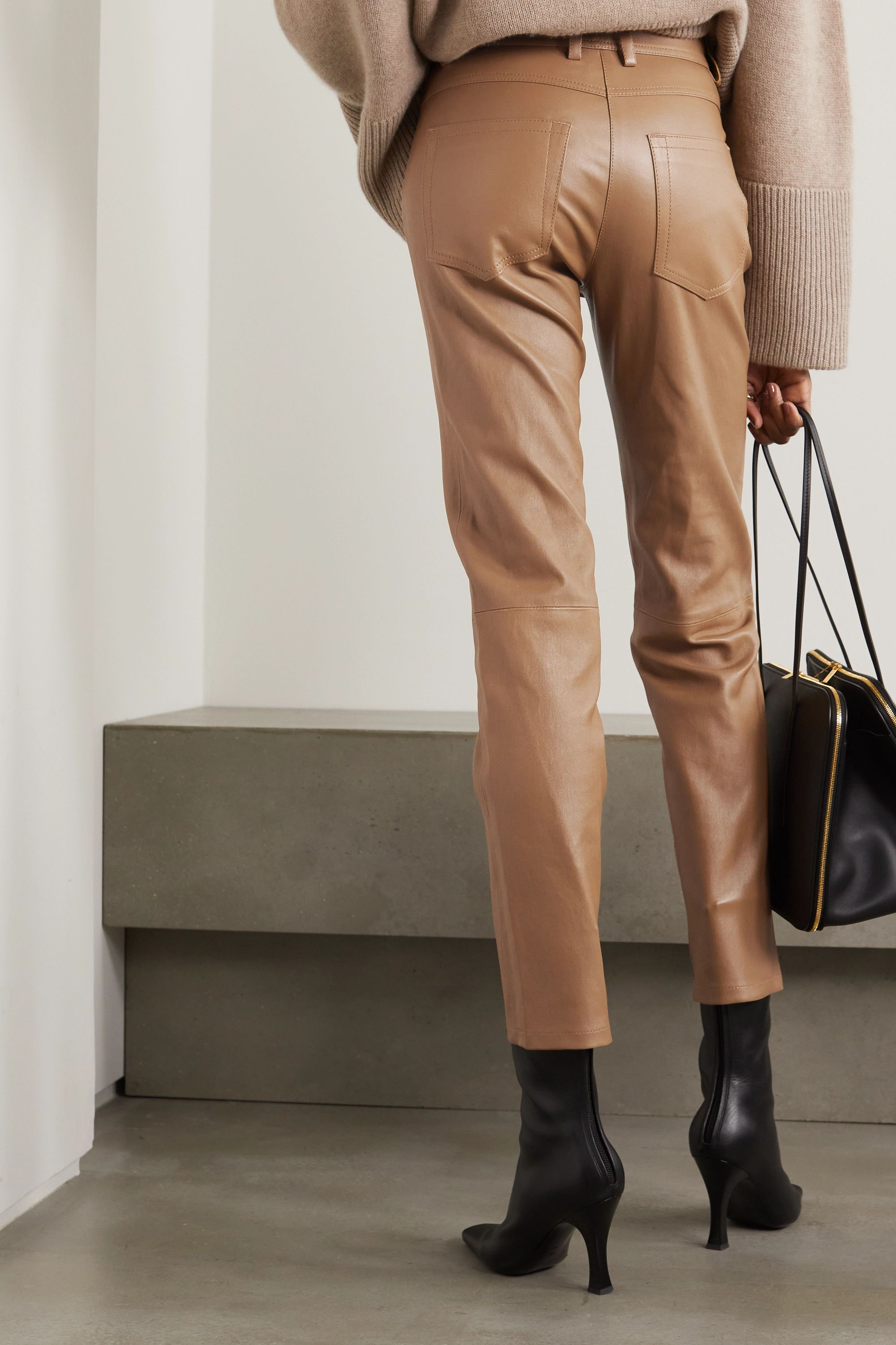 Joseph Teddy leather tapered pants