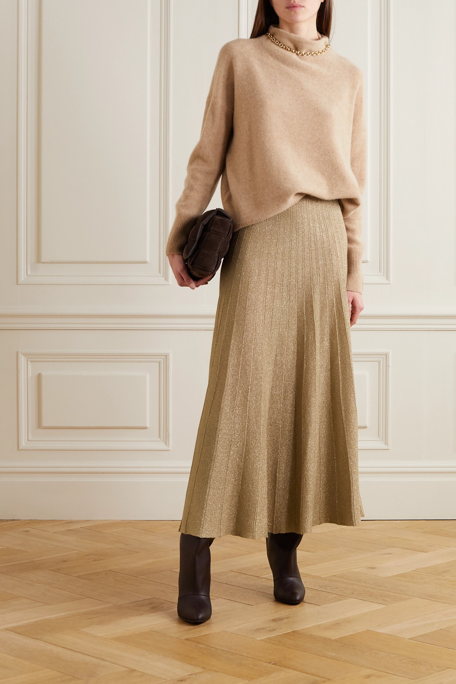 Joseph Pleated Lurex skirt