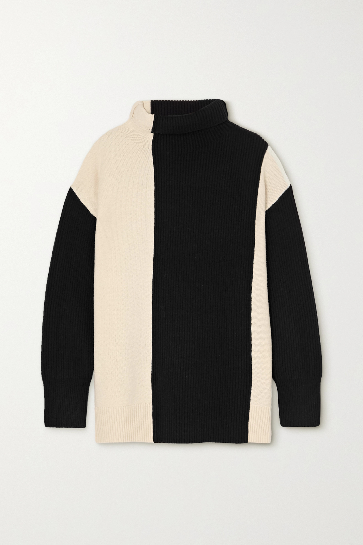 Joseph Two-tone merino wool turtleneck sweater