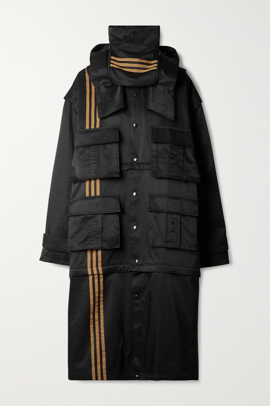 adidas Originals + Ivy Park 4All convertible hooded striped cotton-blend twill jacket