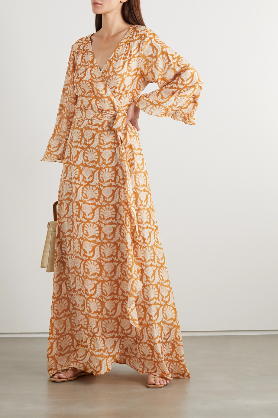 Hannah Artwear + NET SUSTAIN Luna printed silk wrap maxi dress