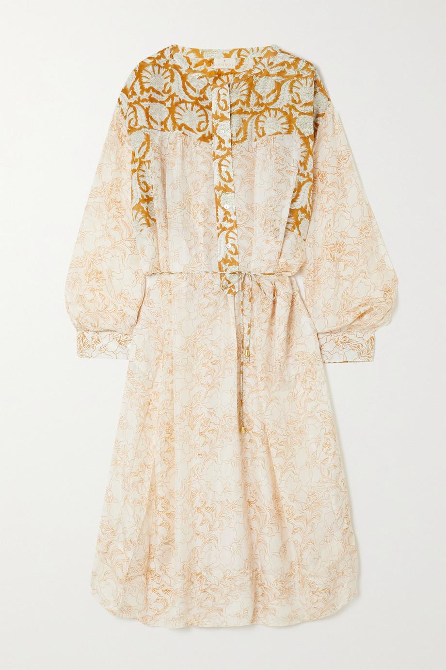 Hannah Artwear 【NET SUSTAIN】Marigold 褶裥印花真丝衬衫式中长连衣裙