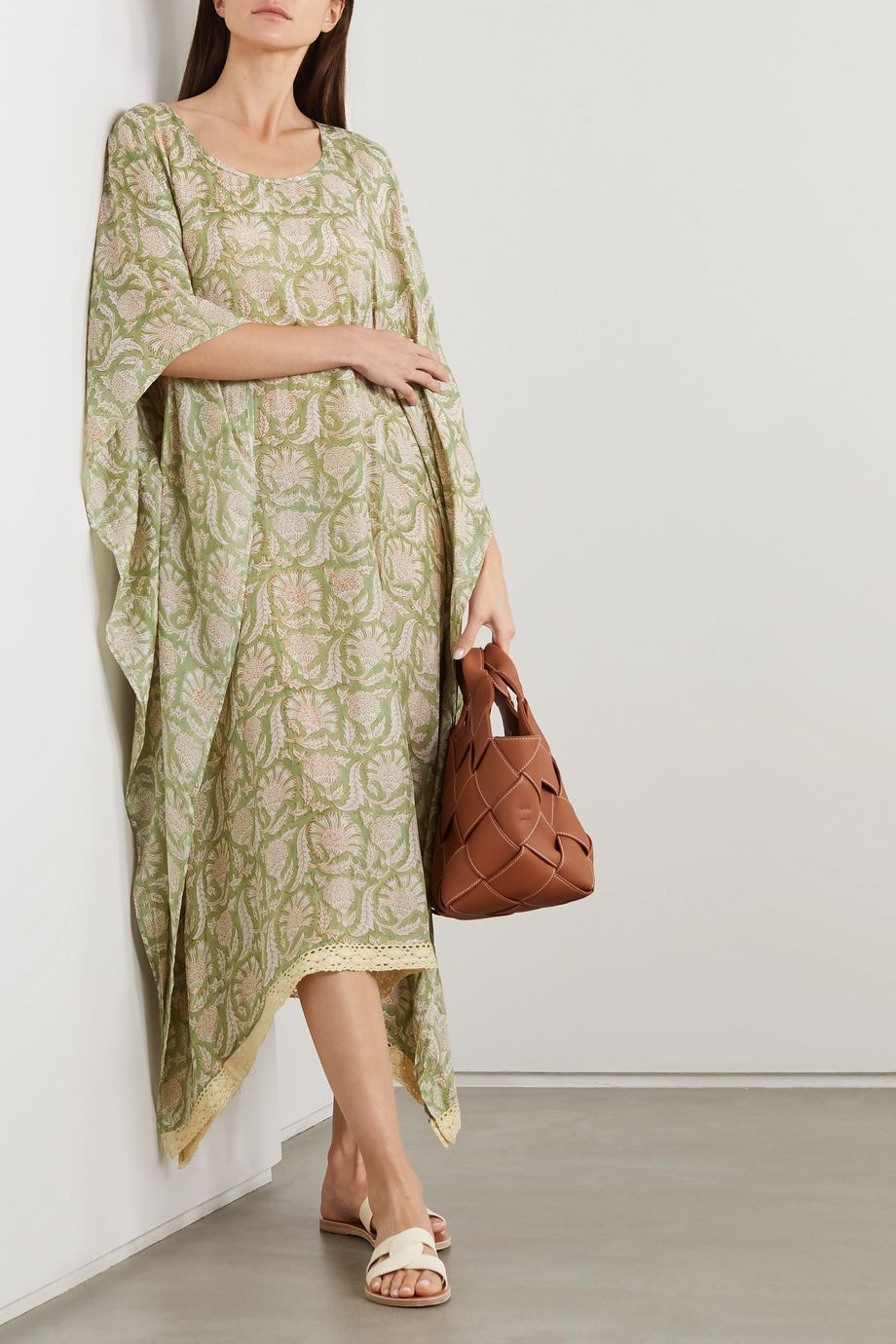 Hannah Artwear + NET SUSTAIN Shanti crochet-trimmed printed silk kaftan