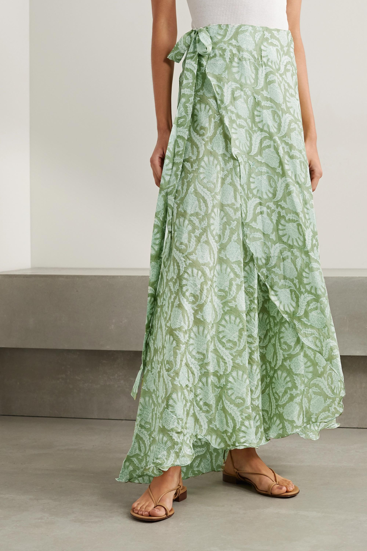 Hannah Artwear + NET SUSTAIN Maya printed silk wrap maxi skirt