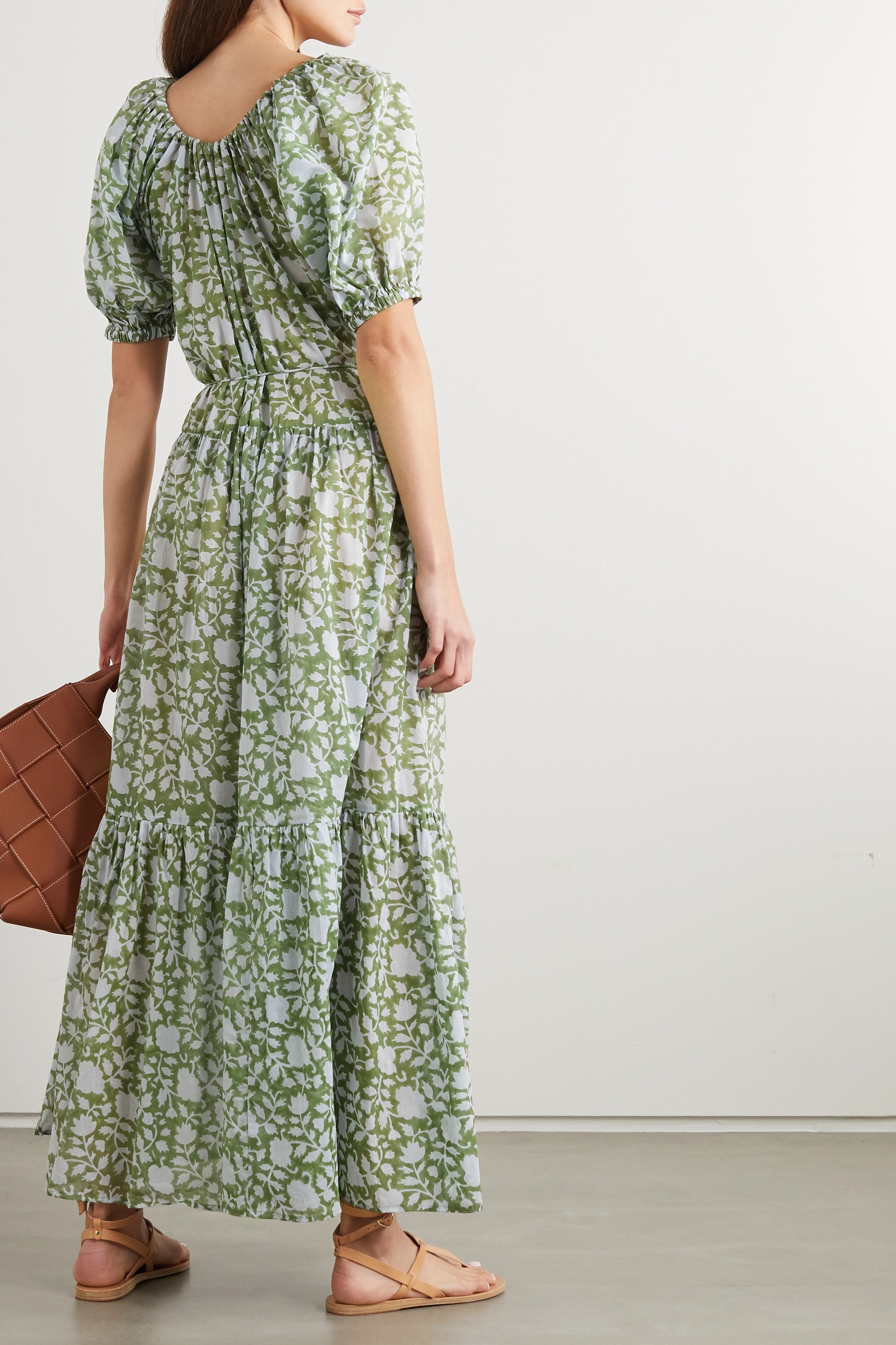 Hannah Artwear + NET SUSTAIN Lotus belted tiered printed cotton maxi dress
