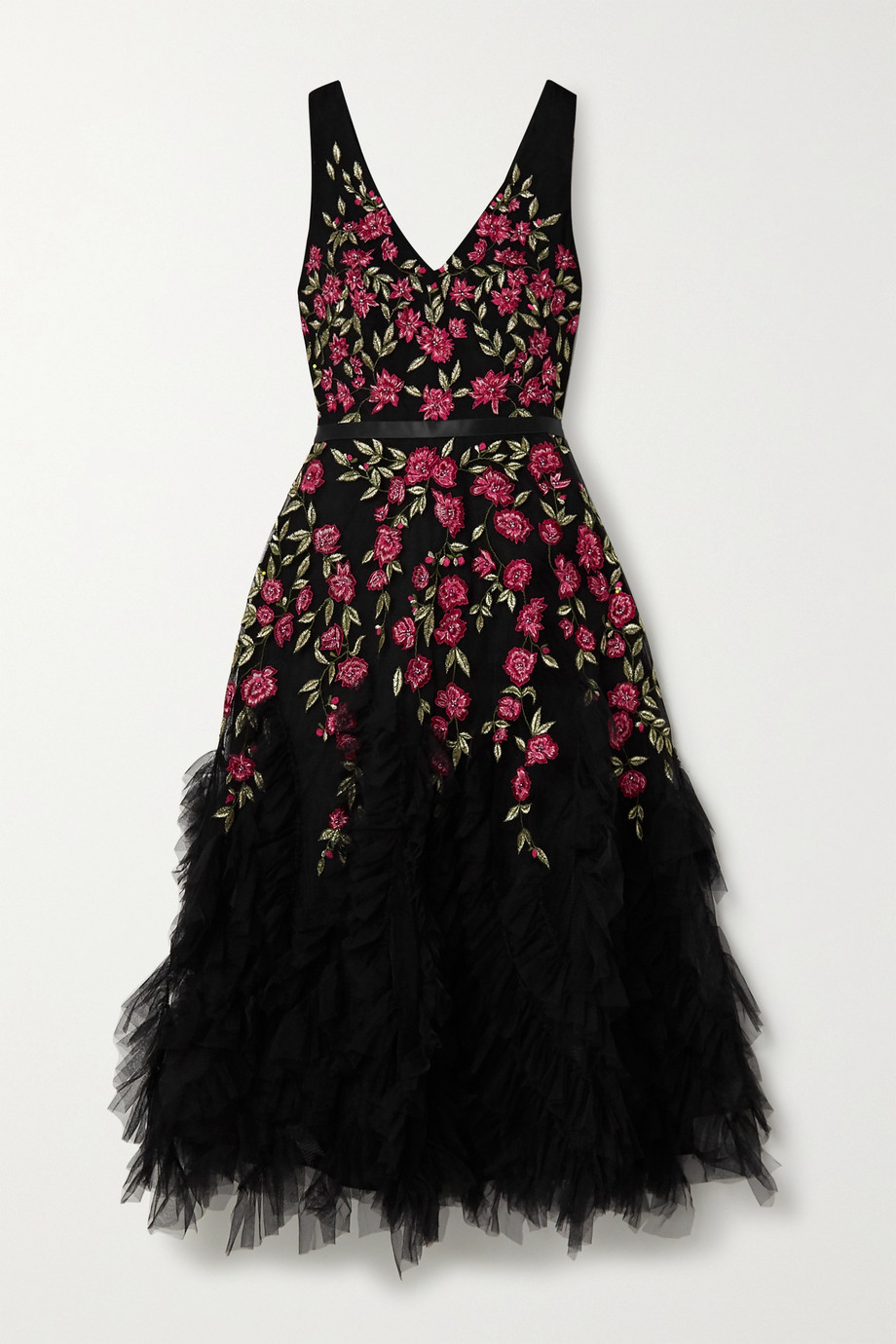 Marchesa Notte Ruffled embellished embroidered tulle midi dress