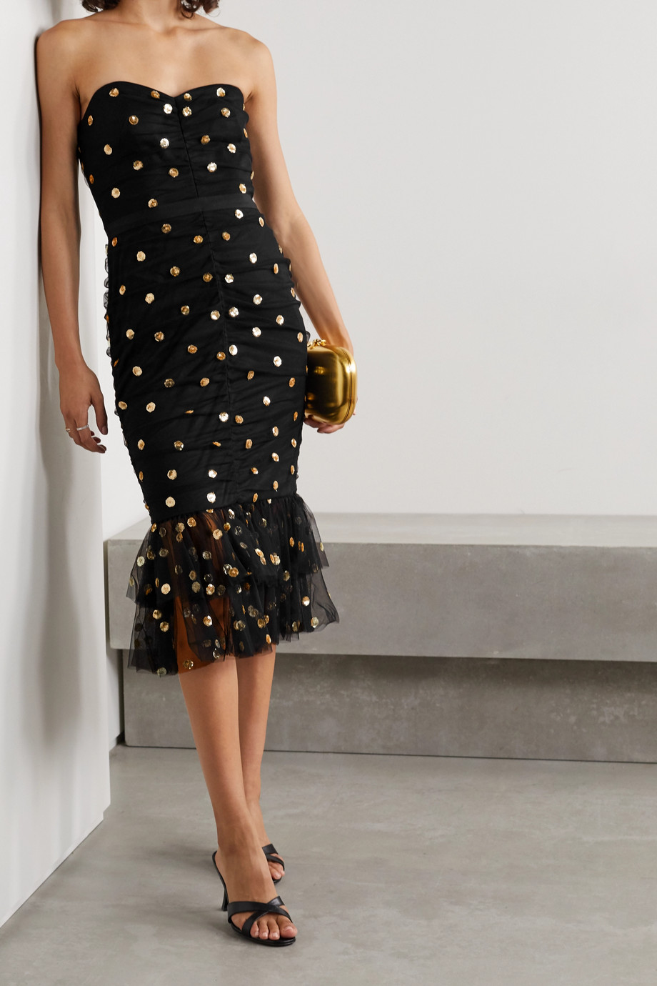 Marchesa Notte Strapless ruched polka-dot sequined tulle midi dress
