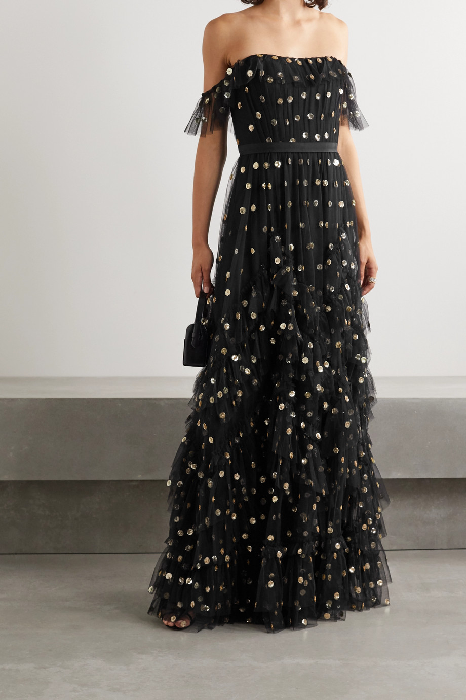 Marchesa Notte Off-the-shoulder ruffled polka-dot sequined tulle gown