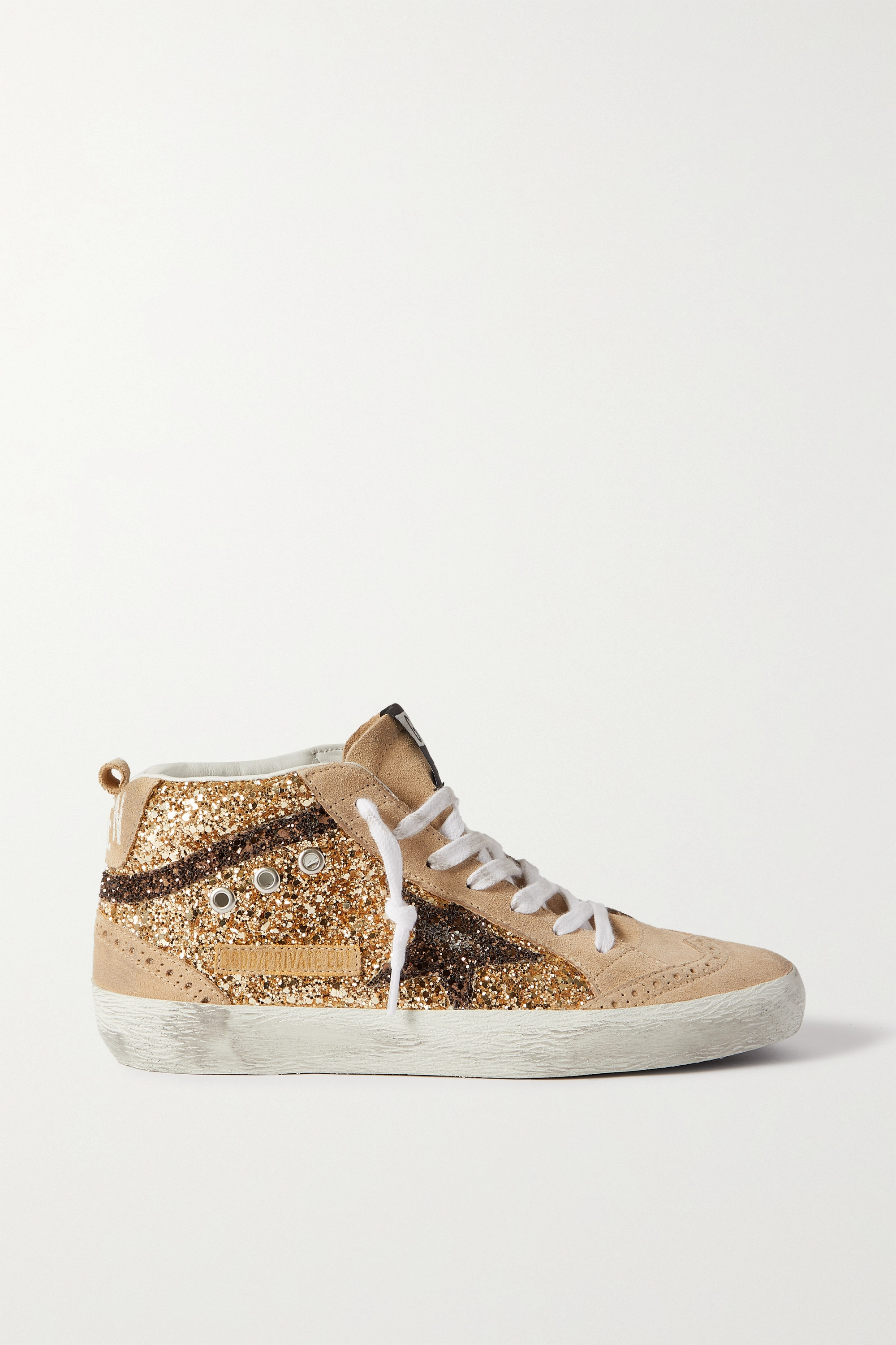 Golden Goose Midstar glittered distressed suede high-top sneakers